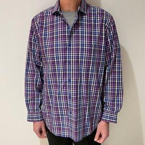 Tasso Elba Purple Plaid Button Down Dress Shirt